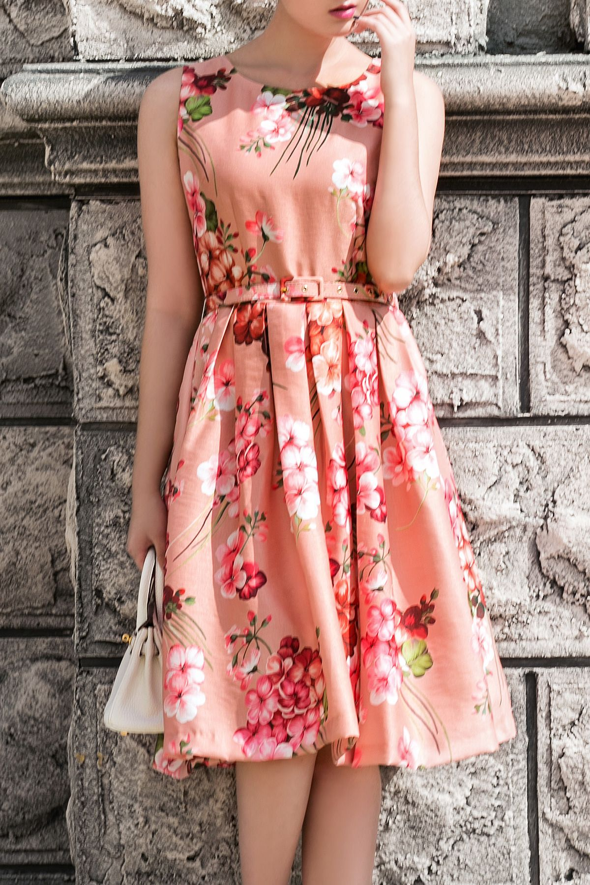 I love this style of dress vintage style coral pink floral print