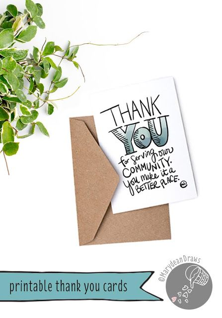 Printable Community Helpers Thank You Cards Thank You Cards Printable Thank You Cards Free Thank You Cards