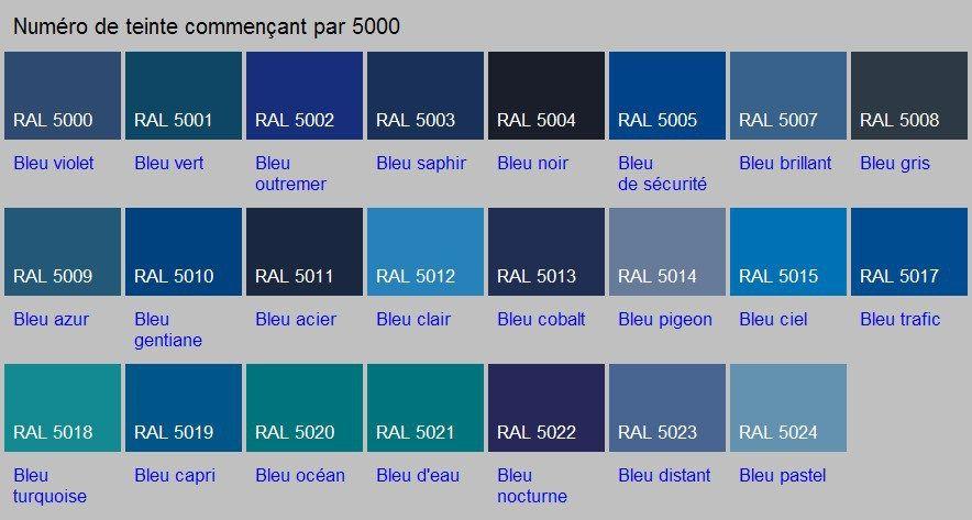 Voir Les Teintes Nuancier Bleu Couleur Ral Et Couleur