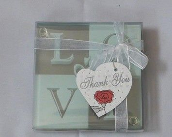40 Pcs Love Glass Coasters 4 Per Set Ribbon 10 Sets Thank You Favors Unused