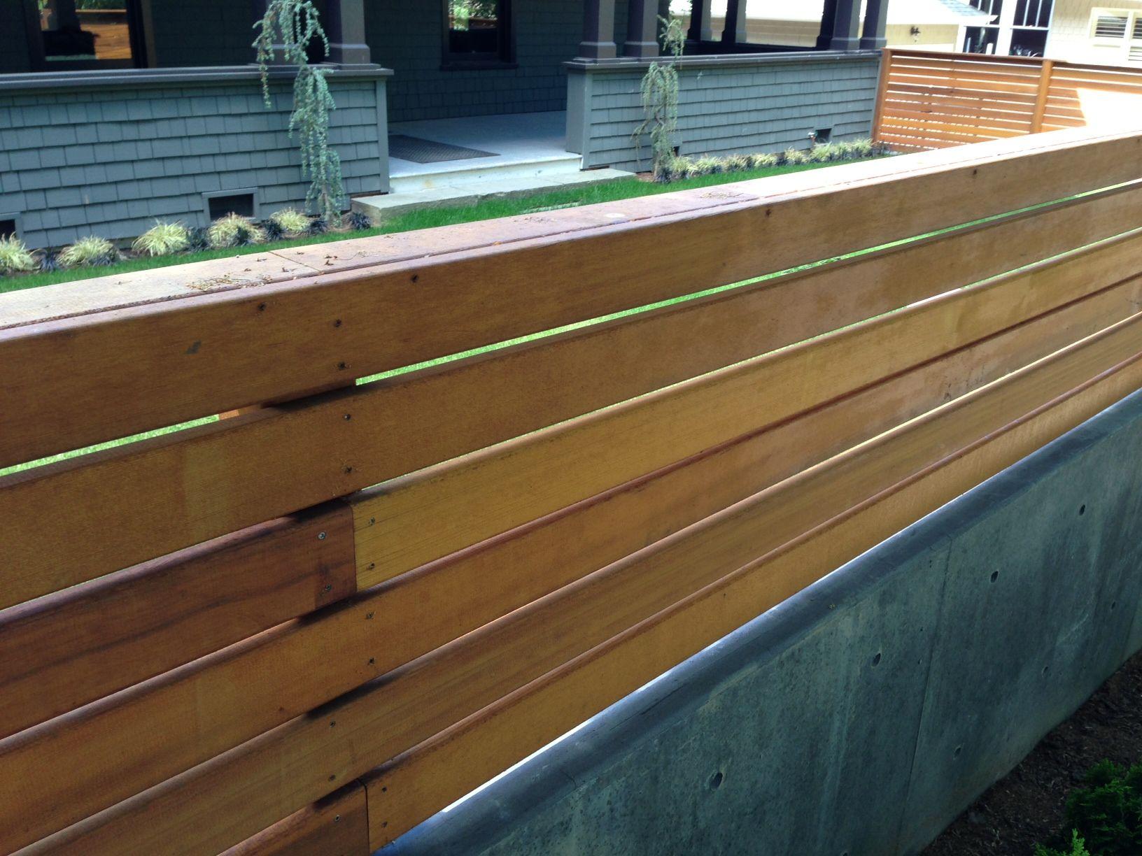 Wood Trellis On Top Of Concrete Retaining Wall Concrete