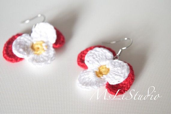 Crochet Pansies Earrings red and whiteCrochet earrings | CROCHET ...