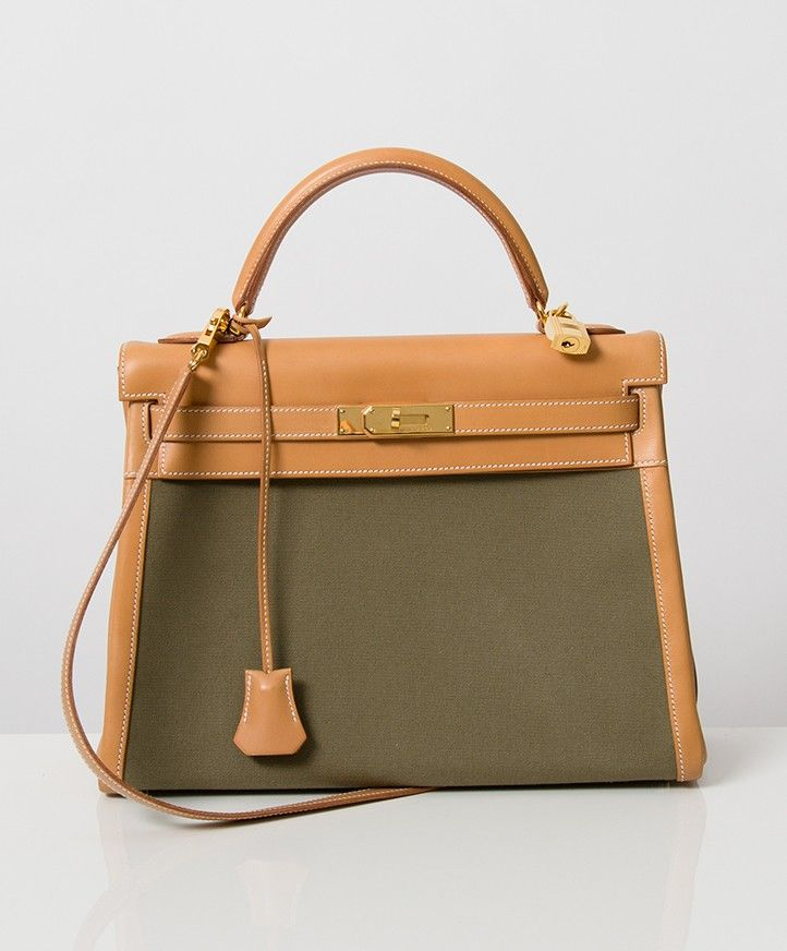 cc48aa1a32 Buy Hermes Kelly 32 Khaki Cotton GHW at the right price safe and secure at  LabelLOV online webshop fashion luxury brands Belgium