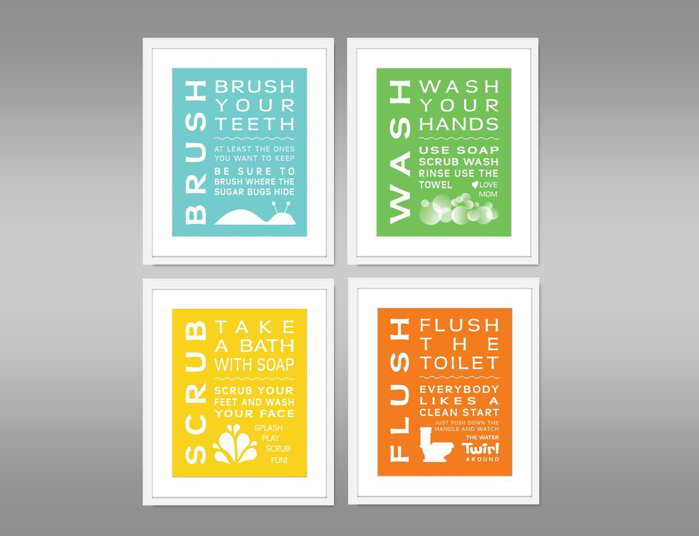 bathroom signs for kids childrens bathroom print set of 4 home 16415