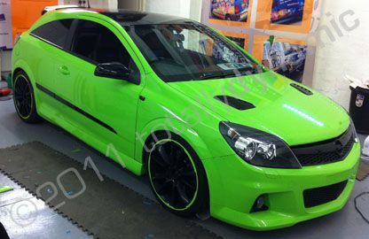 Vauxhall Astra Vxr Wrapped Lime Green And Black Pimped Up Car