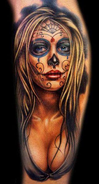 Realism Muerte Tattoo by Khan Tattoo - http://worldtattoosgallery.com/realism-muerte-tattoo-by-khan-tattoo-4/