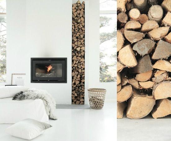 Houtblokken in nis naast openhaard hout wood for Decoratie naast tv