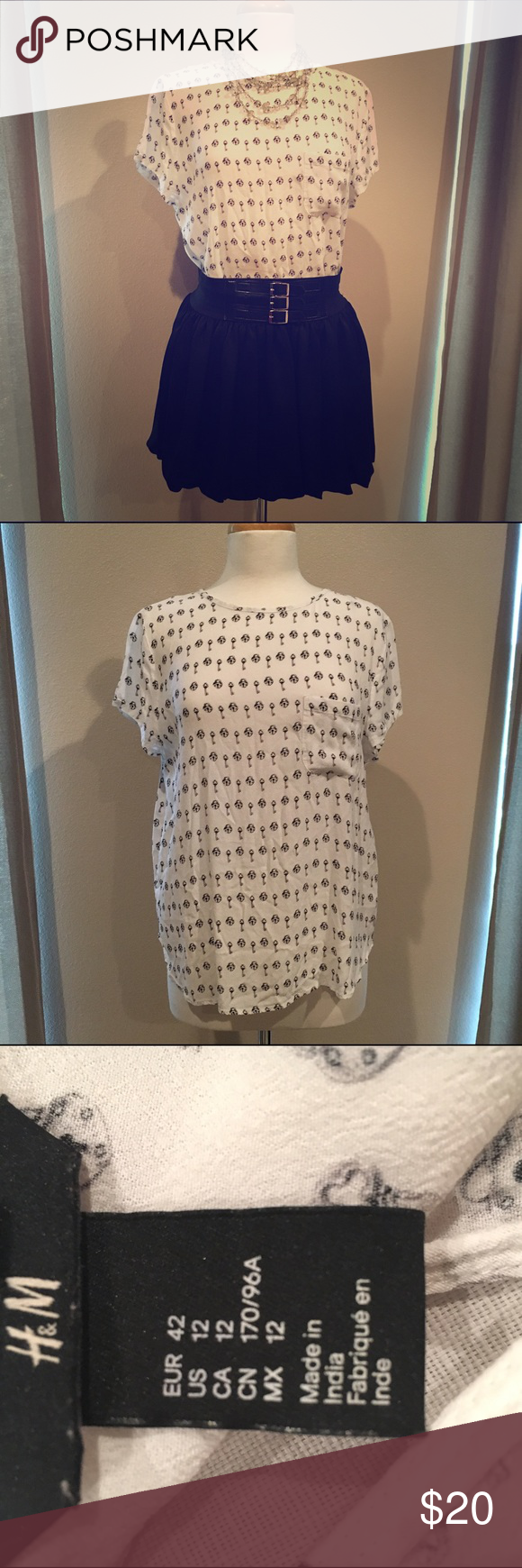 H&M Blouse White top with heart lock and key pattern. Size 12. Great condition. H&M Tops Blouses