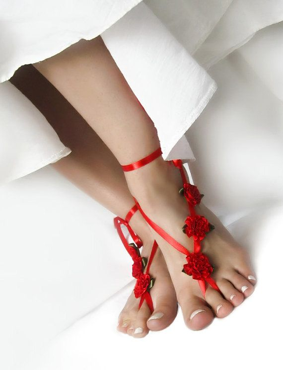 Red Wedding Barefoot Sandals with Satin Ribbon Flowers, Hippie Beach Sandles, Boho Nude Shoes, Yoga Anklet Jewelry by ElvishThings #beach #wedding #indian #red