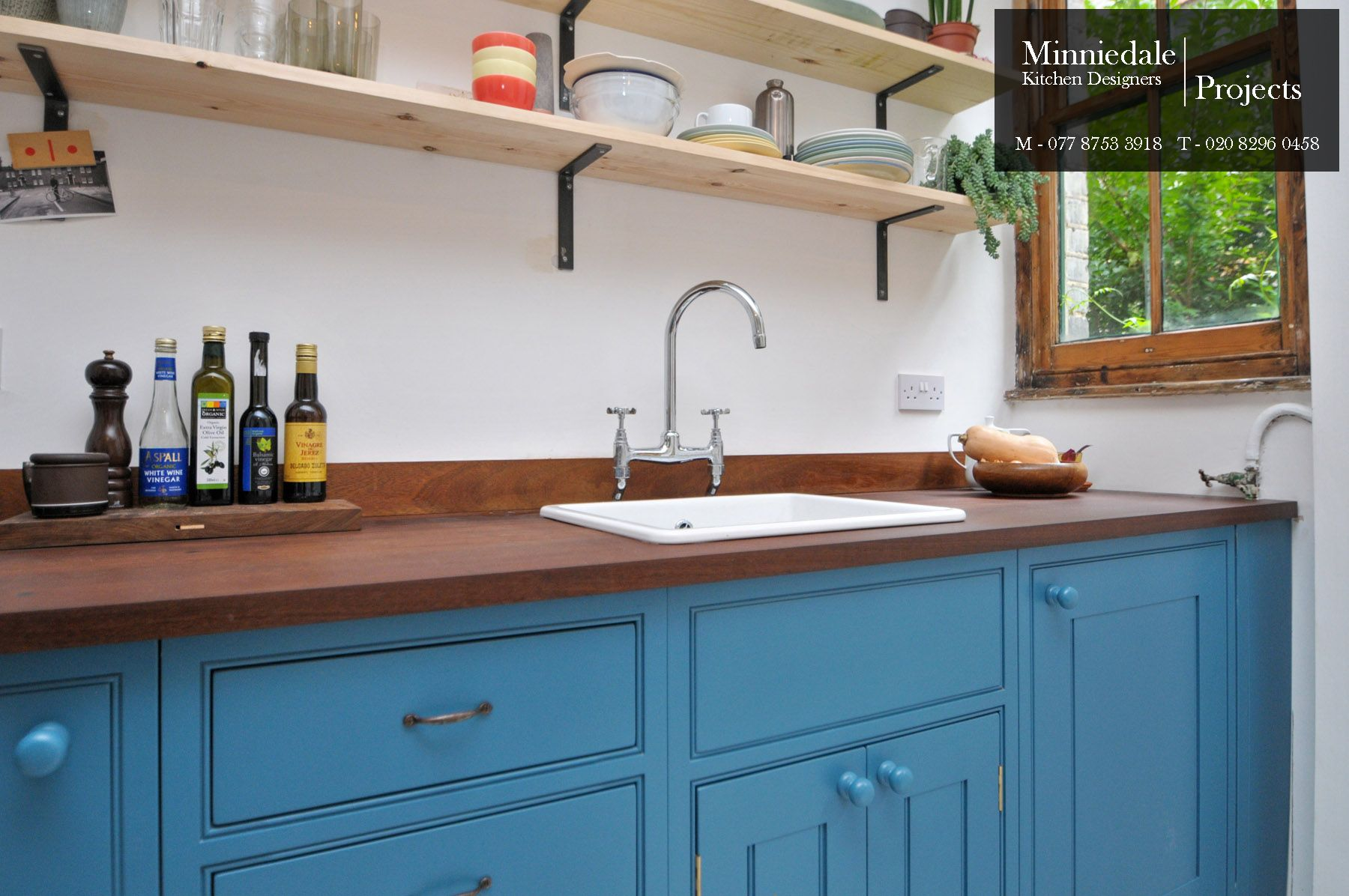 Bespoke Handmade Kitchen sprayed in Papers & Paints Pale Powder Blue ...