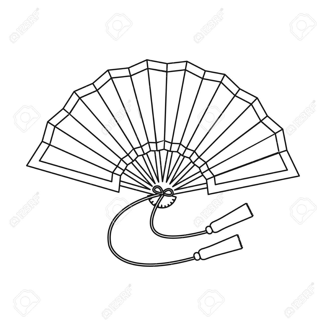 Icona Pieghevole Del Ventilatore Nello Stile Di Contorno Isolato Su Priorita Bassa Bianca Giappone Illustrazione Vet Fan Drawing Fan Tattoo Dragon Eye Drawing