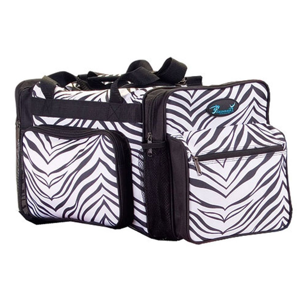 b951bab95044 Pizzazz white zebra print multi sport travel bag is great for dance or  cheer. Your girl will love this handy bag in zebra print design on  polyester with ...