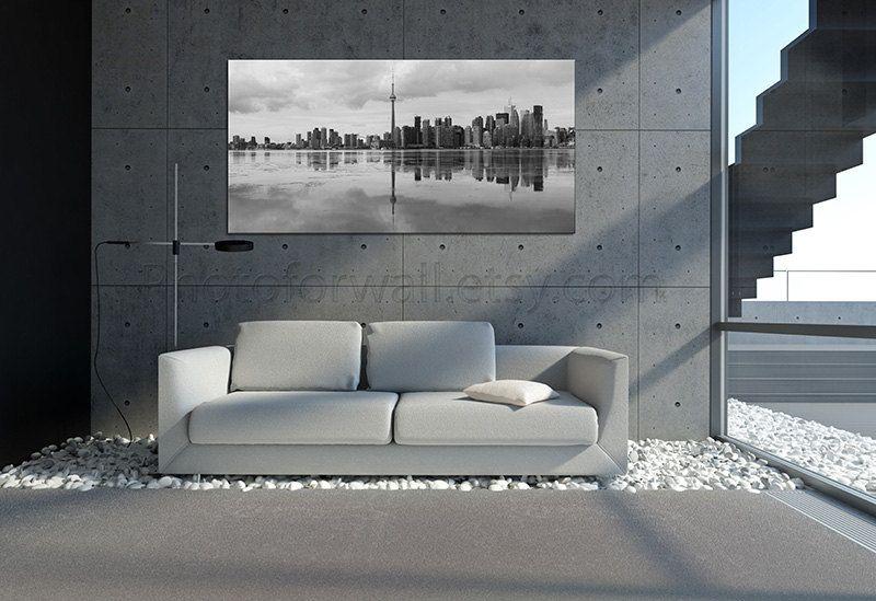 Large Canvas art, Toronto black and white photography, Toronto Wall Decor, Toronto skyline art, Toronto poster, Toronto photography by PHOTOFORWALL on Etsy