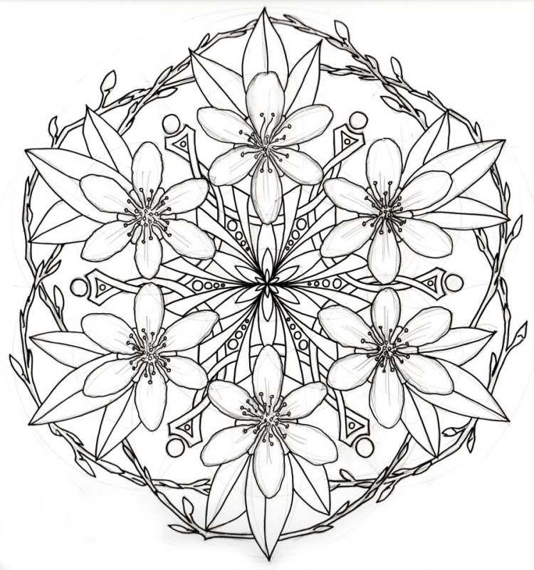 Mandala Tattoo Vorlage mit Zweigen und Blüten   Mandala   Pinterest ...