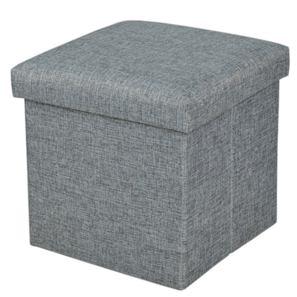 Storage Ottoman Folding Stool Collapsible Cube Foot Rest Seat Fabric