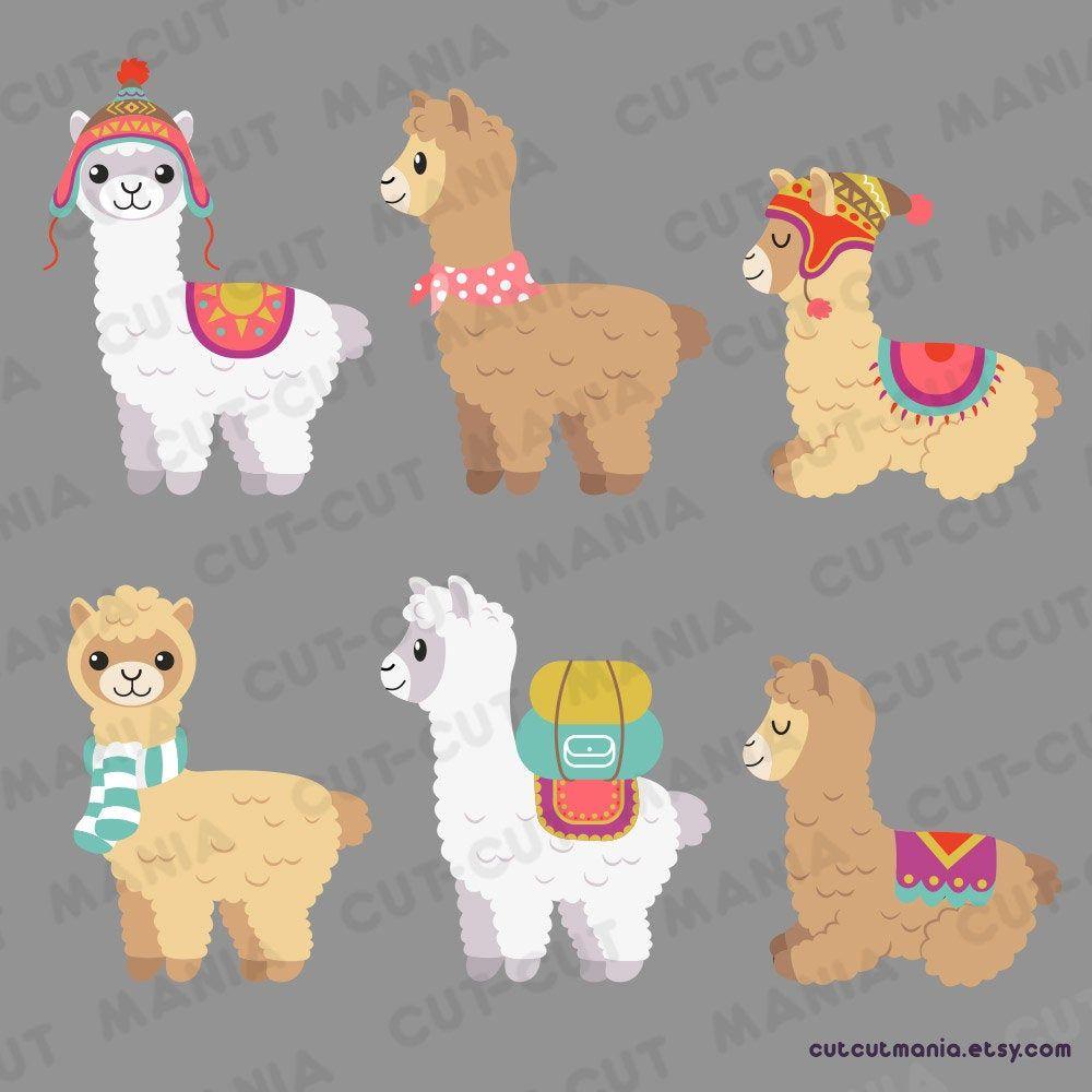 15+ Cute Cactus Llama Clipart Png