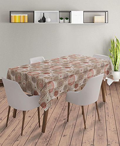 55 X 70 Inch Rectangle Tablecloth | Wood Medallion Brown Vinyl Dining Table  Cover (