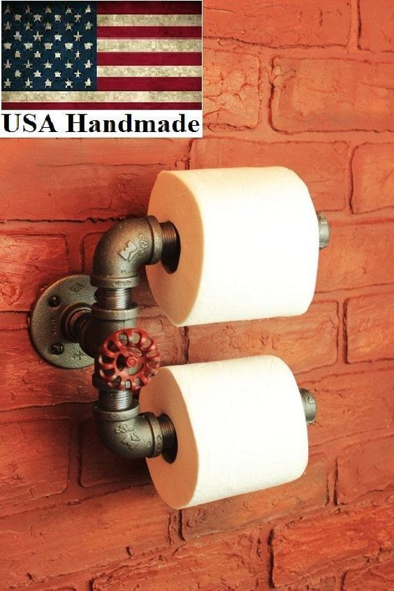 Details about Industrial Pipe Double Roll Toilet Paper Holder toilet roll, bathroom tp holder images