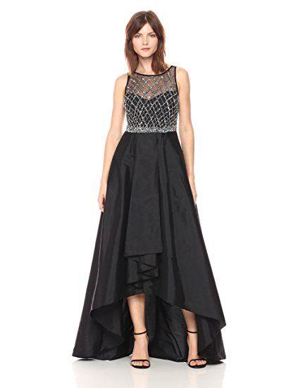 805b61fddf Adrianna Papell Women s Bead Bodice Gown with Taffetta Hi Ow Hem ...