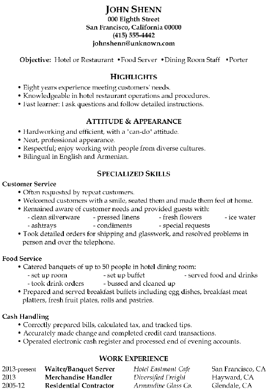 Restaurant Resume Objective Resume Sample Food Server  Dining Room Staff  Porter  Ff