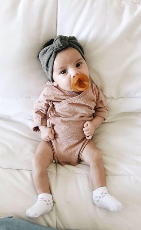 Textured Gray: Retro Knot Headband baby headband baby | Etsy