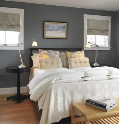 Dark grey blue feature wall with warm timber floor and for Grey feature wallpaper bedroom