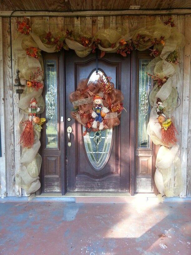Ideas For The Front Door Fall Deco Mesh Door Garland