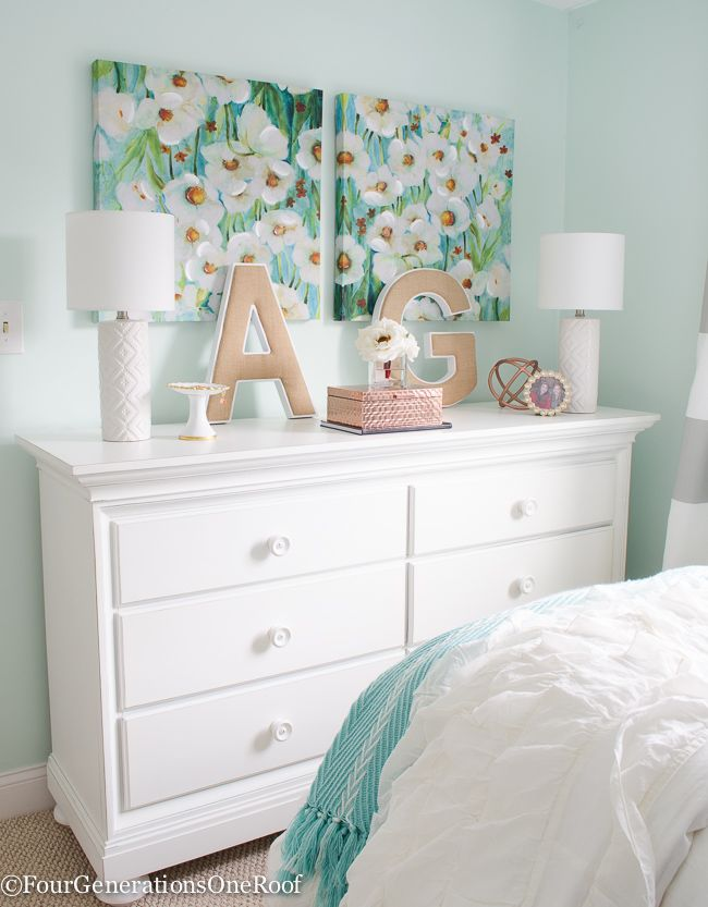 sophisticated teenage girls bedroom makeover gorgeous white dresser canvas paired wall art. Black Bedroom Furniture Sets. Home Design Ideas