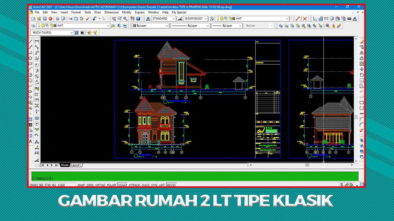 Download Gambar Rumah 2 Lt Tipe Klasik File Dwg Autocad In 2021 Autocad
