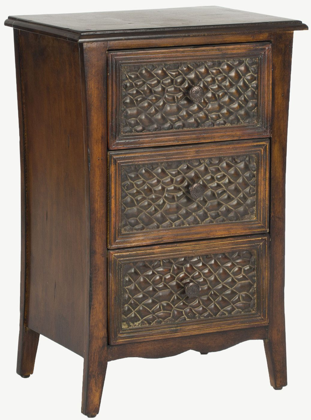 Clarence 3 Drawer End Table Dark Brown