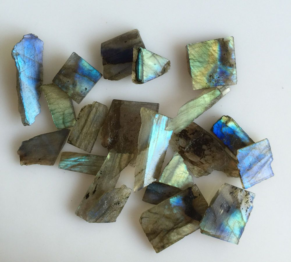 169CT NATURAL LABRADORITE ROUGH SLICE GEMS FLASHY LOOSE LOT RAW MINERAL SPECIMEN…