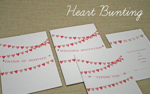 Heart shaped bunting wedding stationery Bunting Corner Pinterest