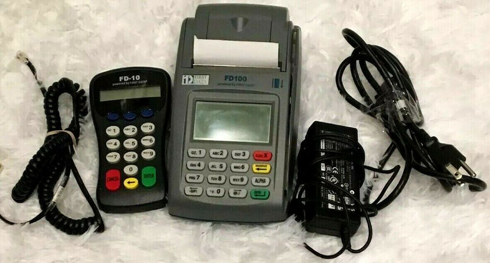 First Data Fd 100 Credit Card Machine Terminal Reader Pin Pad Connect Cords Firstdata Credit Card Machine Card Machine Credit Card Terminal