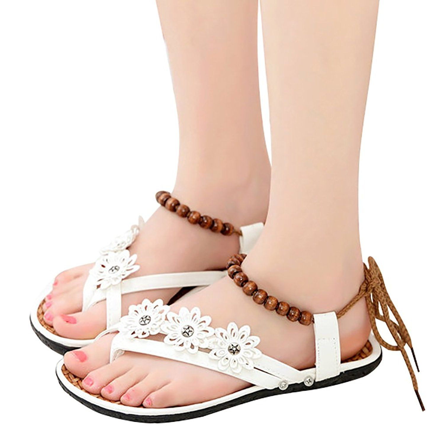 5a4fdc4e6fd8bd Bohemia Bead Flower Strappy Casual Shoes for Women Clip Toe Sandals Girl  Lace Up Flat Sandals Female     Want additional info  Click on the image.