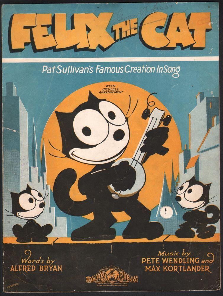 Felix The Cat 1928 Sheet Music Ebay Felix The Cats Vintage Cartoon Classic Cartoon Characters