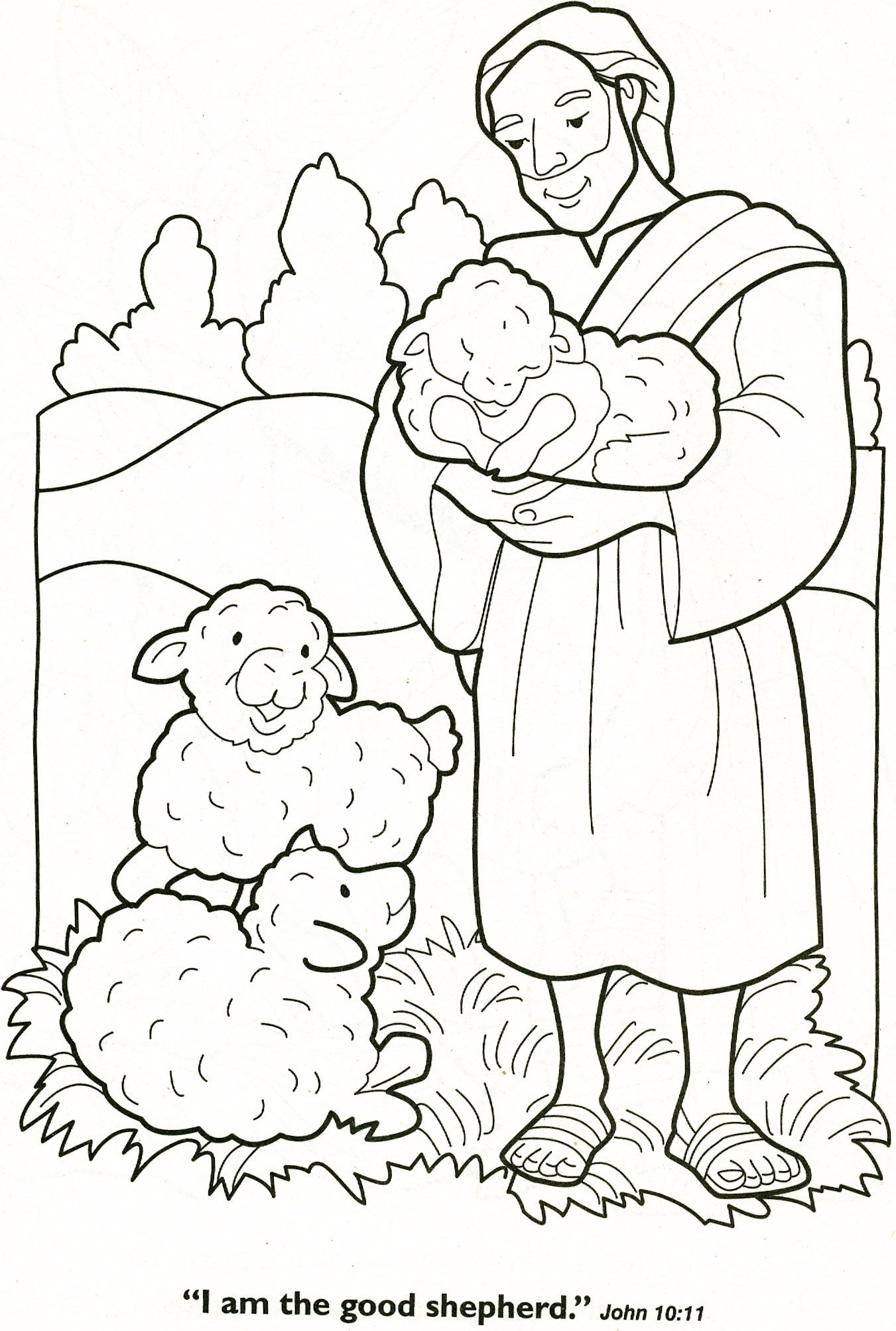 The Good Shepherd Sunday School Coloring Pages Bible Coloring