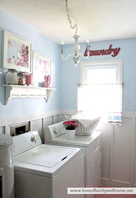 laundry office. Light Blue, White, Silver And Red For The Office/laundry Room Laundry Office