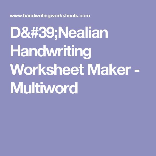 Dnealian Handwriting Worksheet Maker Multiword Classroom