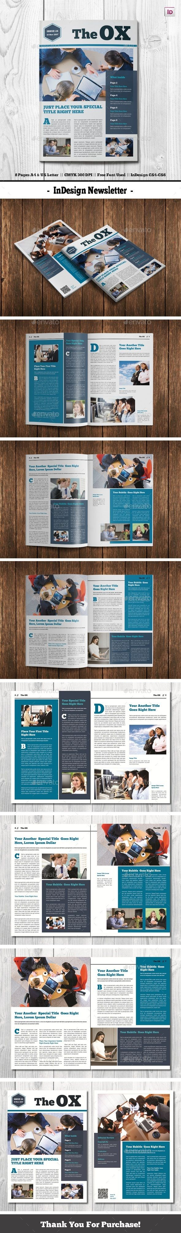 Indesign Newsletter Template Indesign Indd 8 Pages A4 Us Letter