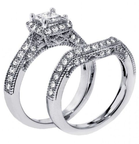 2.00 CT TW Halo Designer Princess Cut Diamond Engagement Bridal Set in 14k White Gold