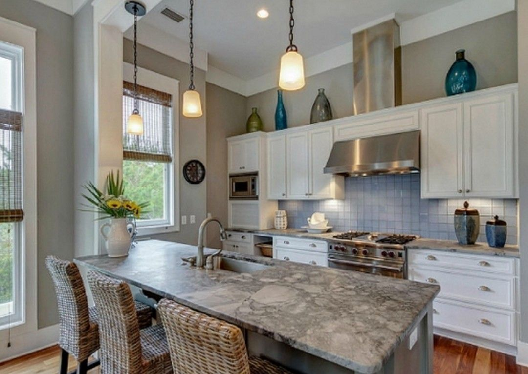 7 Beach Home Coastal Style Kitchen Design Ideas In 2020 Small House Kitchen Design Beach House Kitchens Kitchen Cabinet Styles