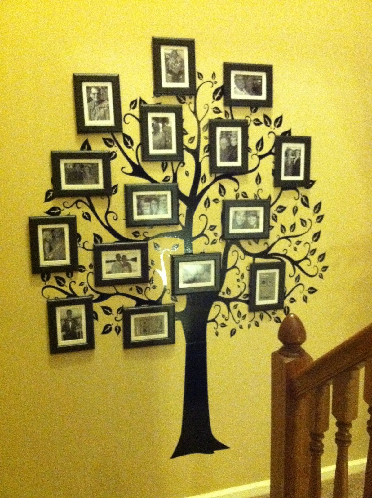 Family Tree Wall. This would look good in the mid stair case area ...