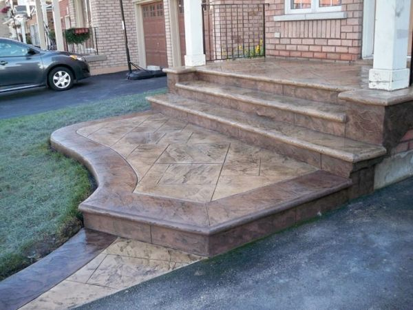 Stamped concrete front steps front walkways and steps - Concrete porch steps ideas ...