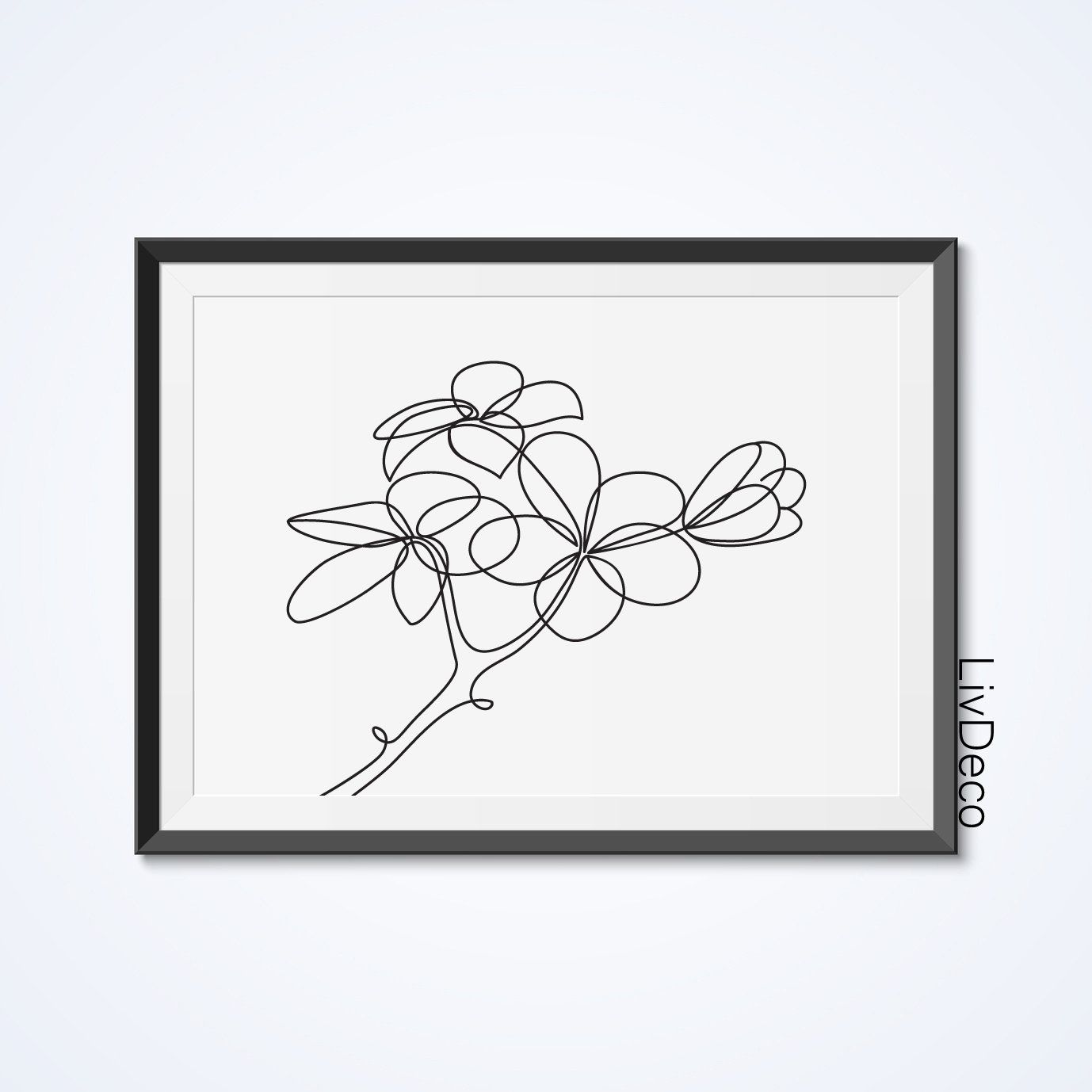 Plumeria Flower Printable Wall Decor One Line Drawing Print Etsy Botanical Wall Art Flower Wall Art Wall Decor Printables