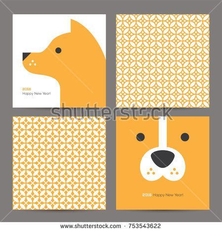 Chinese New Year 2018 Greeting Cards Set With Cute Dog Head And