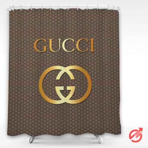 gucci golden logo dark surface shower