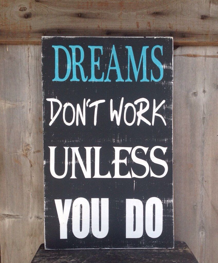 Country Decor Wood Signs Fair Dreams Don't Work Unless You Do Rustic Wood Country Decor Wood Decorating Design