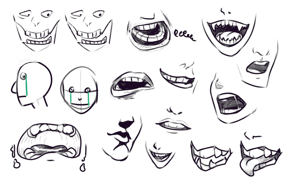 Drawing Drill 5 Faces Gestures Mouths Torsos Hands Smirking Raven Mouth Drawing Anime Mouth Drawing Anatomy Drawing
