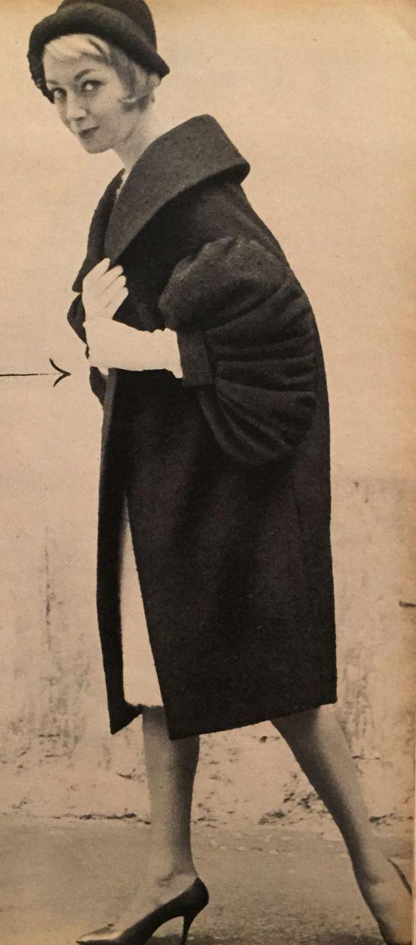 Jeanne Lanvin-Castillo- 1958 Plum purple wool coat jacket. Elle No ...