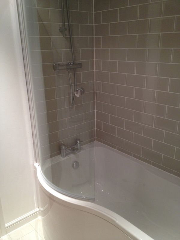Grey Subway Tiles w/ White Grout in a Bathroom Installation by UK ...
